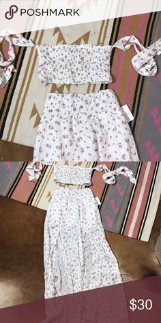 2 piece Maxi and smocked off the shoulder top Both never worn NWT not uo Urban Outfitters Skirts