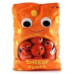Kawaii Kidrobot Yummy World bag of cheese puffs plush set! Food Pillows, Cute Pillows, Candy Pillows, Diy Pillows, Kawaii Plush, Cute Plush, Food Plushies, Yummy World, Best White Elephant Gifts