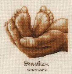 Baby Feet Personalized Cross Stitch Birth Record