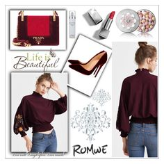 """Romwe"" by ella2309 ❤ liked on Polyvore featuring Prada, Christian Louboutin, Brewster Home Fashions, Guerlain, Burberry and Kenneth Cole"