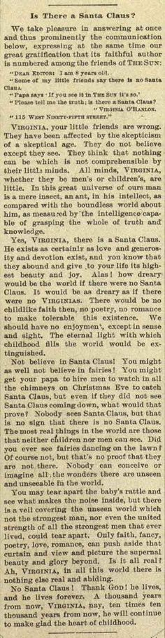 "Sept. 21, 1897. The New York Sun runs its ""Yes, Virginia, there is a Santa Claus"" editorial in response to a letter from 8-year-old Virginia O'Hanlon"