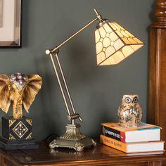 家利阅读学习护眼台灯办公卧室书房台灯蒂凡尼黄金色摇臂灯饰灯具