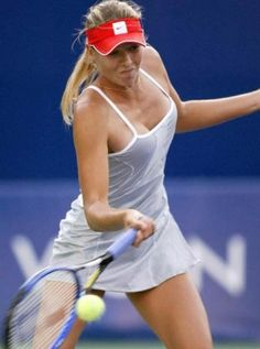 Maria Sharapova tennis.  She seems perfectly charming in interviews, but I really don't like watching her play.