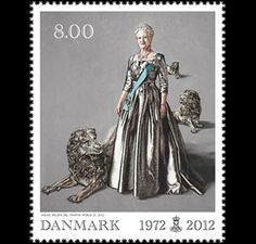 Her majesty Queen margrethe ii of Denmark celebrates her 40th jubilee in 2012. to mark the occasion, post Danmark, post Greenland and posta Faroe islands are jointly issuing a stamp. Based on mikael melbye's portrait of the Queen, it is engraved by martin mörck and produced in a combination of intaglio and offset. #denmark #stamps http://www.wopa-stamps.com/index.php?controller=country&action=stampIssue&id=4584