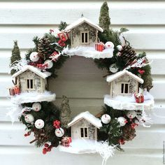 Новый год 2017 ручной работы. Ярмарка Мастеров - ручная работа. Купить Рождественский венок. Handmade. Белый, венок на дверь, подарок