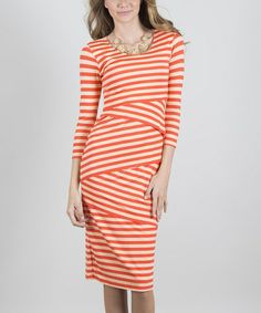 This Coral & White Succinct Scoop Neck Dress is perfect! #zulilyfinds $24.99, regular 40.00