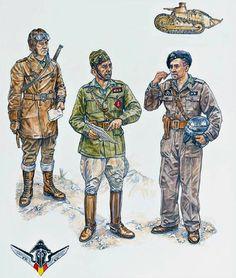 """Nationalist Forces - Regular Troops: • Dispatch rider • Capitán, artillery, everiday service dress • Teniente, 1er Batallón de Carros de Combate"", Stephen Walsh"