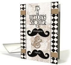 Gay Wedding Shower Invitations Custom Names Vintage Mustaches card by Betsy Bush