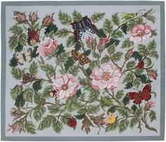 Rose Garden rug (grey) - Beth Russell Needlepoint