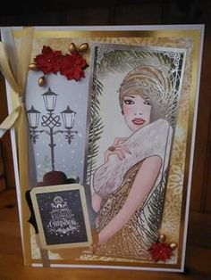 Festive Deco Ladies kit by Kanban Crafts. size card in gold and silver. Kanban Crafts, Art Deco Cards, Man Vs, Vintage Cards, Preschool Crafts, Arts And Crafts, Create, A4 Size, Junk Journal