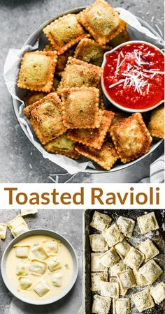 Warm and crispy Toasted Ravioli made from frozen raviolis dipped in egg and breadcrumbs, fried, and served with marinara sauce for dunking. via @betrfromscratch Dinner Recipes Easy Quick, Quick Easy Meals, Healthy Dinner Recipes, Appetizer Recipes, Party Recipes, New Recipes, Cooking Recipes, Pasta Dishes, Food Dishes