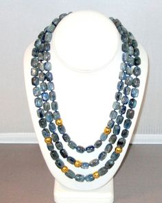 Kyanite necklace with 18K beads by LataGems on Etsy,