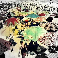 Beach umbrella photography 12x12 black and white print selective color  DECO BEACH wall decor vintage reproduction art