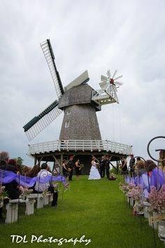 full color ceremony with windmill as your backdrop