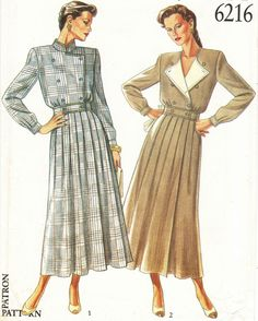 Misses Retro Military Style Double Breasted Pleated Dress Sew Pattern Fashion Illustration Sketches, Fashion Design Sketches, Vintage Dresses, Vintage Outfits, Retro Fashion, Vintage Fashion, New Look Patterns, Motif Vintage, Military Fashion