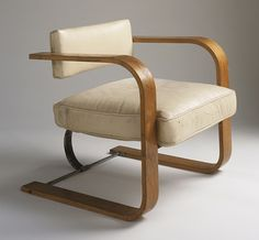 Chair, Richard Neutra (Austria, active United States, California, Los Angeles, 1892-1970) United States, 1931, this example circa 1941 Furnishings; Furniture Ash plywood, chromed steel, original leather