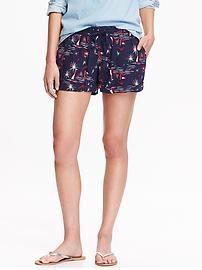 Women's Fireworks-Print Linen-Blend Shorts (3 1/2