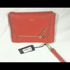 Botkier Wristlet Red/orange mid sized Wristlet by Botkier with gold zippers. Never used. Tags and stuffing intact. Botkier Bags Clutches & Wristlets