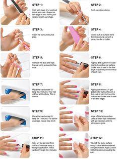 Uv Gel Nails Step By Guide Nieuwe artikelen Manicure World - Nageldesign Manicure Steps, Gel Manicure At Home, Gel Nail Tips, Manicure E Pedicure, Nail Hacks, Acrylic Nail Tips, Manicure Tools, Gel Nail Tutorial, Acrylic Nails At Home