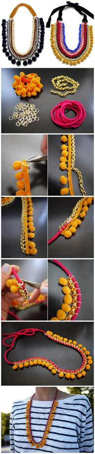 Tribal necklace design with thread, jump rings and felt balls? Too cute...loves it! Gotta try it! Can't wait... ^_^