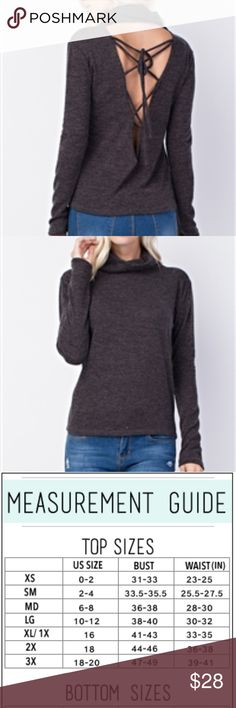 Charcoal Lace up Back Sweater The detail is in the back.. Charcoal Gray Sweater Laces up the back.   94% Polyester 4% Spandex Sweaters