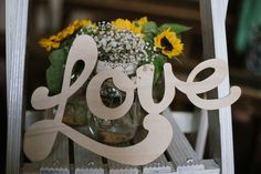 """love"" wooden sign"
