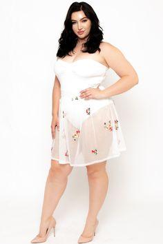 8a6d16c3bf Plus Size Floral Mesh Contrast Ballerina Dress- White