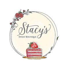 Custom logo for Stacy's sweet boutique. #viyiwi #customillstration #customlogo #yvr #madeincanada #smallbusiness #businessbranding #branding #logo #pink #cakelogo #cake #cakery #bakery #strawberry #floral #floralframe #florals #rose #roses