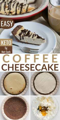 A creamy and delicious baked coffee keto cheesecake. It's just the right size for a small gathering of friends and family. A creamy and delicious baked coffee keto cheesecake. It's just the right size for a small gathering of friends and family. Low Carb Sweets, Low Carb Desserts, Low Carb Recipes, Baking Recipes, Dessert Recipes, Diabetic Desserts, Baking Ideas, Soup Recipes, Dinner Recipes
