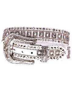 You'll enjoy a chic western look with this great belt.The belt has a beautiful rhinestone studded white leather strap.The large silver-toned buckle with rhinestone.This belt would be a great addition to any pair of jeans, or as an accessory with your favorite shirt.