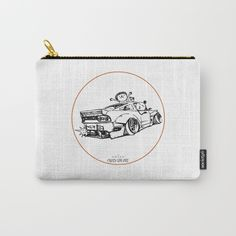 Crazy Car Art 0007 Carry-All Pouch by mame_ozizo Weird Cars, Car Illustration, Kustom Kulture, Old School, Coin Purse, Pouch, Japanese, Drawings, Artwork