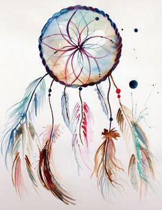 """Terra Dreamcatcher"" by Jessica Woodson, on sale now at MezcMarket.com! #art #watercolor #painting #artforsale"