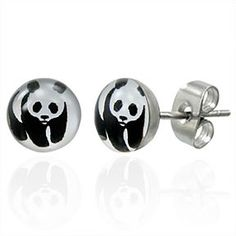 7mm Stainless Steel Panda Circle Stud Earrings Pair LEB051  Weight: 1.00 grams (0.03 ounce) Height: 0.70 cm (0.27 inch) Width: 0.70 cm (0.27 inch) by Mystic Steel on Opensky
