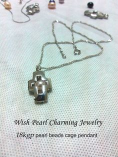POP! 18kgp Cross Pearl Bead Locket Cage /Pendant with Rhodium Plated for Jewelry, Bracelet /Necklace, Free Shipping $6.50