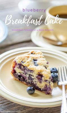 """Blueberry Breakfast Cake – perfect for breakfast, brunch or a light dessert. This luscious cake is a deliciously moist, lightly sweet """"coffee"""" cake bursting with juicy ripe blueberries and a hint of lemon. Blueberry Crumble Pie, Lemon Blueberry Muffins, Blueberry Breakfast, Blueberry Cake, Blueberry Recipes, Breakfast Cake, Pumpkin Breakfast, Breakfast Ideas, Lemon Icebox Cake"""