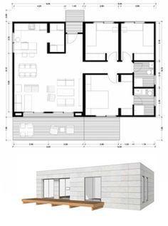 Planos Casas de Madera Prefabricadas: Plano de casa 100 m2 modelo C #cocinasrusticasmadera
