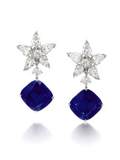 Lot 371 - THE RICHELIEU SAPPHIRES, A PAIR OF RARE AND MAGNIFICENT SAPPHIRE AND DIAMOND EARRINGS