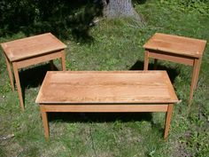 Handmade White oak Shaker style end tables/coffee table by Pugbutt Woodworks | CustomMade.com