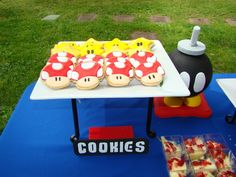 Cookies at a Super Mario Bros. Party #supermario #partycookies for my Uncle Mike's birthday