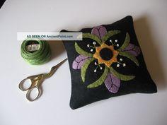 Purple Flower Wool Applique Pincushion Primitives photo