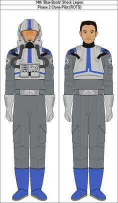 14th 'Bleu Boots' Shock Legion Phase 2 Clone Pilot by PieJaDak