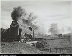 Southbound Spirit of Progress passing Kilmore East hauled by 3 cylinder locomotive S301 Sir Thomas Mitchell, Victoria, 1939