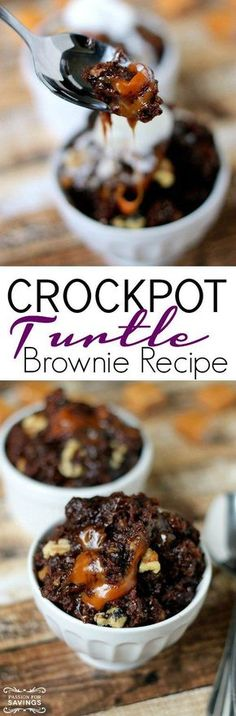 Crockpot Turtle Brownie! A fun and easy dessert recipe you can make in the slow cooker!