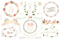 50 Wedding Graphics Pack. Wedding Collection. di Delagrafica, $10,00