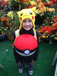 Pokemon pokè ball Halloween costume... made from half sphere foam from the craft store and paint