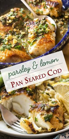 Seared Cod with a Caper, Parsley and Lemon Sauce Thick cut cod is pan seared in a mixture of olive oil and butter to produce a golden brown crust and then served with a lemon, parsley, and caper sauce to make a simple and healthy weeknight meal. Fish Dinner, Seafood Dinner, Healthy Weeknight Meals, Easy Meals, Cod Fish Recipes, Grilled Cod Recipes, Simple Fish Recipes, Cod Fillet Recipes, Best Cod Recipes