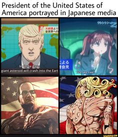 President of the United States of America portrayed in Japanese media - iFunny :) Jojo Anime, Me Anime, Jojo Memes, Dankest Memes, Meme Pictures, Jojo Bizzare Adventure, Stupid Memes, Jojo Bizarre, Funny Relatable Memes