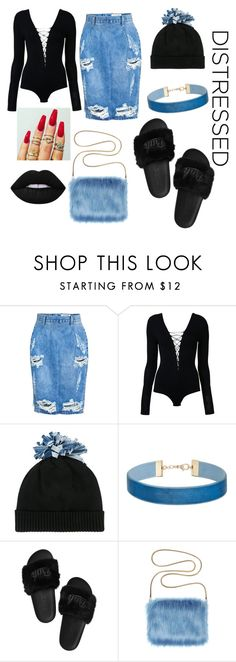 """""""Distressed Denim 💅🏾"""" by shina-rip-twan ❤ liked on Polyvore featuring OneTeaspoon, T By Alexander Wang, Federica Moretti, Miss Selfridge and Lime Crime"""