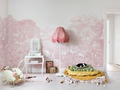 Create a dreamy room setting with this lush pink forest wall mural. Tree Wallpaper Mural, Nursery Wallpaper, Rose Wallpaper, Wallpaper Samples, Kids Wall Murals, Murals For Kids, Decoration, Art Decor, Kindergarten Wallpaper