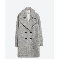 Zara Double Breasted Wool Coat (€135) ❤ liked on Polyvore featuring outerwear, coats, jackets, zara, grey marl, wool coat, gray coat, fur-lined coats, grey wool coat and woolen coat